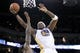 Mar 30, 2014; Oakland, CA, USA; Golden State Warriors center Jermaine O'Neal (7) shoots the ball against the New York Knicks in the third quarter at Oracle Arena. The Knicks won 89-84. Mandatory Credit: Cary Edmondson-USA TODAY Sports