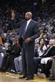 Mar 30, 2014; Oakland, CA, USA; New York Knicks head coach Mike Woodson gestures from the sidelines against the Golden State Warriors in the third quarter at Oracle Arena. The Knicks won 89-84. Mandatory Credit: Cary Edmondson-USA TODAY Sports
