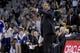 Mar 30, 2014; Oakland, CA, USA; Golden State Warriors head coach Mark Jackson gestures from the sidelines during action against the New York Knicks in the fourth quarter at Oracle Arena. The Knicks won 89-84. Mandatory Credit: Cary Edmondson-USA TODAY Sports