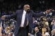 Mar 30, 2014; Oakland, CA, USA; New York Knicks head coach Mike Woodson gestures from the sidelines during action against the Golden State Warriors in the fourth quarter at Oracle Arena. The Knicks won 89-84. Mandatory Credit: Cary Edmondson-USA TODAY Sports