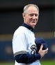 Mar 31, 2014; Milwaukee, WI, USA;  Milwaukee Brewers manager Ron Roenicke is introduced to fans before game against the Atlanta Braves of an opening day baseball game at Miller Park. Mandatory Credit: Benny Sieu-USA TODAY Sports