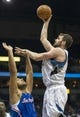 Mar 31, 2014; Minneapolis, MN, USA; Minnesota Timberwolves forward Kevin Love (42) goes up for a shot over Los Angeles Clippers forward Jared Dudley (9) in the second half at Target Center. The Clippers won 114-104. Mandatory Credit: Jesse Johnson-USA TODAY Sports