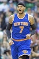 Mar 31, 2014; Salt Lake City, UT, USA; New York Knicks forward Carmelo Anthony (7) runs up the court during the second half against the Utah Jazz at EnergySolutions Arena. The Knicks won 92-83. Mandatory Credit: Russ Isabella-USA TODAY Sports