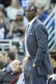 Mar 31, 2014; Salt Lake City, UT, USA; Utah Jazz head coach Tyrone Corbin watches the action during the second half against the New York Knicks at EnergySolutions Arena. The Knicks won 92-83. Mandatory Credit: Russ Isabella-USA TODAY Sports