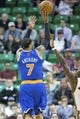 Mar 31, 2014; Salt Lake City, UT, USA; New York Knicks forward Carmelo Anthony (7) shoots during the second half against the Utah Jazz at EnergySolutions Arena. The Knicks won 92-83. Mandatory Credit: Russ Isabella-USA TODAY Sports