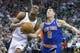 Mar 31, 2014; Salt Lake City, UT, USA; New York Knicks guard Pablo Prigioni (9) knocks the ball away from Utah Jazz guard Alec Burks (10) during the second half at EnergySolutions Arena. The Knicks won 92-83. Mandatory Credit: Russ Isabella-USA TODAY Sports