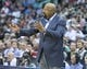 Mar 31, 2014; Salt Lake City, UT, USA; New York Knicks head coach Mike Woodson reacts during the first half against the Utah Jazz at EnergySolutions Arena. The Knicks won 92-83. Mandatory Credit: Russ Isabella-USA TODAY Sports