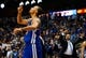 Apr 1, 2014; Dallas, TX, USA; Golden State Warriors guard Stephen Curry (30) reacts after hitting the game winning shot in overtime against the Dallas Mavericks at American Airlines Center. Mandatory Credit: Kevin Jairaj-USA TODAY Sports