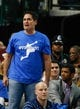 Apr 1, 2014; Dallas, TX, USA; Dallas Mavericks owner Mark Cuban (left) and Seattle Seahawks quarterback Russell Wilson (right) during the game at American Airlines Center. Golden State won 122-120. Mandatory Credit: Kevin Jairaj-USA TODAY Sports
