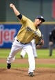 Apr 2, 2014; Milwaukee, WI, USA;   Milwaukee Brewers pitcher Matt Garza (22) pitches in the first inning against the Atlanta Braves at Miller Park. Mandatory Credit: Benny Sieu-USA TODAY Sports