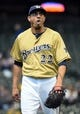 Apr 2, 2014; Milwaukee, WI, USA;  Milwaukee Brewers pitcher Matt Garza (22) reacts after retiring the side in the fifth inning against the Atlanta Braves at Miller Park. The Braves beat the Brewers 1-0. Mandatory Credit: Benny Sieu-USA TODAY Sports