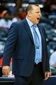 Apr 2, 2014; Atlanta, GA, USA; Chicago Bulls head coach Tom Thibodeau calls a play in the first half against the Atlanta Hawks at Philips Arena. Mandatory Credit: Daniel Shirey-USA TODAY Sports