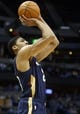Apr 2, 2014; Denver, CO, USA; New Orleans Pelicans forward Anthony Davis (23) shoots the ball during the first half against the Denver Nuggets at Pepsi Center. Mandatory Credit: Chris Humphreys-USA TODAY Sports