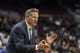Apr 2, 2014; Philadelphia, PA, USA; Philadelphia 76ers head coach Brett Brown during the third quarter against the Charlotte Bobcats at the Wells Fargo Center. The Bobcats defeated the Sixers 123-93. Mandatory Credit: Howard Smith-USA TODAY Sports