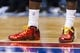 Apr 2, 2014; Philadelphia, PA, USA; A detail photo of the footwear of Philadelphia 76ers guard Tony Wroten (8) during the second quarter against the Charlotte Bobcats at the Wells Fargo Center. The Bobcats defeated the Sixers 123-93. Mandatory Credit: Howard Smith-USA TODAY Sports