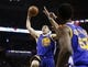 Apr 2, 2014; San Antonio, TX, USA; Golden State Warriors guard Klay Thompson (11) dunks the ball against the San Antonio Spurs during the second half at AT&T Center. The Spurs won 111-90. Mandatory Credit: Soobum Im-USA TODAY Sports