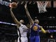 Apr 2, 2014; San Antonio, TX, USA; San Antonio Spurs forward Boris Diaw (33) shoots as Golden State Warriors forward Marreese Speights (5) defends during the second half at AT&T Center. The Spurs won 111-90. Mandatory Credit: Soobum Im-USA TODAY Sports