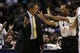 Apr 2, 2014; San Antonio, TX, USA; Golden State Warriors head coach Mark Jackson argues a call during the first half against the San Antonio Spurs at AT&T Center. Mandatory Credit: Soobum Im-USA TODAY Sports