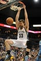 Apr 2, 2014; Minneapolis, MN, USA;  Memphis Grizzlies center Marc Gasol (33) dunks the ball in the second quarter against the Minnesota Timberwolves at Target Center. The Wolves defeated the Grizzlies 102-88.  Mandatory Credit: Marilyn Indahl-USA TODAY Sports