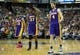Apr 2, 2014; Sacramento, CA, USA; Los Angeles Lakers guard Kendall Marshall (12), forward Jordan Hill (27) and forward Ryan Kelly (4) as a time out is called against the Sacramento Kings during the fourth quarter at Sleep Train Arena. The Sacramento Kings defeated the Los Angeles Lakers 107-102. Mandatory Credit: Kelley L Cox-USA TODAY Sports