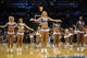 Apr 3, 2014; Oklahoma City, OK, USA; Members of the Oklahoma City Thunder dance team entertain the fans during a break in action against the San Antonio Spurs at Chesapeake Energy Arena. Mandatory Credit: Mark D. Smith-USA TODAY Sports