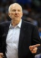 Apr 3, 2014; Oklahoma City, OK, USA; San Antonio Spurs head coach Gregg Popovich reacts to a play in action against the Oklahoma City Thunder during the fourth quarter at Chesapeake Energy Arena. Mandatory Credit: Mark D. Smith-USA TODAY Sports
