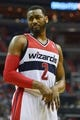 Mar 29, 2014; Washington, DC, USA; Washington Wizards guard John Wall (2) looks at an referee after being called for a foul during the fourth quarter against the Atlanta Hawks  at Verizon Center. Washington Wizards defeated Atlanta Hawks 101-97. Mandatory Credit: Tommy Gilligan-USA TODAY Sports