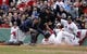 Apr 4, 2014; Boston, MA, USA; Boston Red Sox center fielder Grady Sizemore (38) is tagged out at home plate by Milwaukee Brewers catcher Jonathan Lucroy (20) in the second inning at Fenway Park. Mandatory Credit: David Butler II-USA TODAY Sports