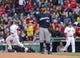 Apr 4, 2014; Boston, MA, USA; Milwaukee Brewers starting pitcher Marco Estrada (41) looks on as Boston Red Sox third baseman Will Middlebrooks (16) rounds the bases after hitting a home run in the third inning at Fenway Park. Mandatory Credit: David Butler II-USA TODAY Sports