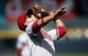 Apr 4, 2014; Denver, CO, USA; Arizona Diamondbacks third baseman Martin Prado (14) catches a fly ball during the second inning against the Colorado Rockies at Coors Field. Mandatory Credit: Chris Humphreys-USA TODAY Sports
