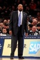 Apr 4, 2014; New York, NY, USA; New York Knicks head coach Mike Woodson coaches against the Washington Wizards during the first quarter of a game at Madison Square Garden. Mandatory Credit: Brad Penner-USA TODAY Sports