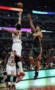 Apr 4, 2014; Chicago, IL, USA;  Milwaukee Bucks center Zaza Pachulia (27) is defended by Chicago Bulls center Joakim Noah (13) during the first quarter at the United Center. Mandatory Credit: David Banks-USA TODAY Sports