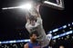 Apr 4, 2014; Brooklyn, NY, USA; Brooklyn Nets center Andray Blatche (0) dunks over Detroit Pistons center Andre Drummond (0) during the second half at Barclays Center. The Nets won 116-104. Mandatory Credit: Joe Camporeale-USA TODAY Sports