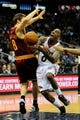 Apr 4, 2014; Atlanta, GA, USA; Atlanta Hawks guard Jeff Teague (0) loses the ball after colliding with Cleveland Cavaliers guard Matthew Dellavedova (8) during the second half at Philips Arena. The Hawks defeated the Cavaliers 117-98. Mandatory Credit: Dale Zanine-USA TODAY Sports
