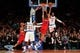 Apr 4, 2014; New York, NY, USA; Washington Wizards point guard Andre Miller (24) is defended by New York Knicks shooting guard J.R. Smith (8) during the fourth quarter of a game at Madison Square Garden. The Wizards defeated the Knicks 90-89. Mandatory Credit: Brad Penner-USA TODAY Sports