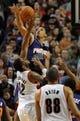 Apr 4, 2014; Portland, OR, USA;Phoenix Suns guard Gerald Green (14) blocks the shot of Portland Trail Blazers forward LaMarcus Aldridge (12) during the first quarter of the game at Moda Center. Mandatory Credit: Steve Dykes-USA TODAY Sports