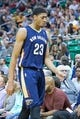 Apr 4, 2014; Salt Lake City, UT, USA; New Orleans Pelicans forward Anthony Davis (23) leaves the game during the second half against the Utah Jazz at EnergySolutions Arena. The Jazz won 100-96. Mandatory Credit: Russ Isabella-USA TODAY Sports