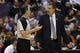 Apr 5, 2014; Washington, DC, USA; Washington Wizards head coach Randy Wittman (R) argues a call with referee Mark Wunderlich (18) against the Chicago Bulls in the second quarter at Verizon Center. The Bulls won 96-78. Mandatory Credit: Geoff Burke-USA TODAY Sports