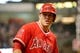 Apr 5, 2014; Houston, TX, USA; Los Angeles Angels center fielder Mike Trout (27) waits in the on-deck circle during the fourth inning against the Houston Astros at Minute Maid Park. Mandatory Credit: Andrew Richardson-USA TODAY Sports