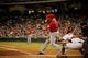 Apr 5, 2014; Houston, TX, USA; Los Angeles Angels left fielder Josh Hamilton (32) hits a three-run home run during the fifth inning against the Houston Astros at Minute Maid Park. Mandatory Credit: Andrew Richardson-USA TODAY Sports