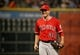 Apr 5, 2014; Houston, TX, USA; Los Angeles Angels relief pitcher Joe Smith (38) smiles after striking out the final batter during the ninth inning against the Houston Astros at Minute Maid Park. Mandatory Credit: Andrew Richardson-USA TODAY Sports