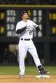 Apr 5, 2014; Denver, CO, USA; Colorado Rockies third baseman Nolan Arenado (28) reacts after his double in the eight inning against the Arizona Diamondbacks at Coors Field. The Rockies defeated the Diamondbacks 9-4. Mandatory Credit: Ron Chenoy-USA TODAY Sports