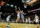 Apr 6, 2014; Houston, TX, USA; Houston Rockets forward Chandler Parsons (25) shoots the ball over Denver Nuggets forward Jan Vesely (24) during the second quarter at Toyota Center. Mandatory Credit: Andrew Richardson-USA TODAY Sports