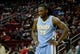 Apr 6, 2014; Houston, TX, USA; Denver Nuggets forward Kenneth Faried (35) reacts to a play during the second quarter against the Houston Rockets at Toyota Center. Mandatory Credit: Andrew Richardson-USA TODAY Sports