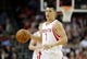 Apr 6, 2014; Houston, TX, USA; Houston Rockets guard Jeremy Lin (7) brings up the ball during the second quarter against the Denver Nuggets at Toyota Center. Mandatory Credit: Andrew Richardson-USA TODAY Sports