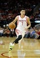 Apr 6, 2014; Houston, TX, USA; Houston Rockets guard Jeremy Lin (7) drives to the basket during the second quarter against the Denver Nuggets at Toyota Center. Mandatory Credit: Andrew Richardson-USA TODAY Sports