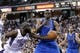 Apr 6, 2014; Sacramento, CA, USA; Dallas Mavericks center Samuel Dalembert (1) and Sacramento Kings forward Reggie Evans (30) battle for control of a loose ball in the third quarter at Sleep Train Arena. The Mavericks defeated the Kings 93-91. Mandatory Credit: Cary Edmondson-USA TODAY Sports