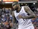 Apr 6, 2014; Sacramento, CA, USA; Sacramento Kings center DeMarcus Cousins (15) prepares to run down court after missing a shot attempt against the Dallas Mavericks in the fourth quarter at Sleep Train Arena. The Mavericks defeated the Kings 93-91. Mandatory Credit: Cary Edmondson-USA TODAY Sports
