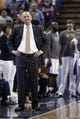 Apr 6, 2014; Sacramento, CA, USA; Sacramento Kings head coach Michael Malone waits for the ball to be inbounded after a timeout against the Dallas Mavericks in the fourth quarter at Sleep Train Arena. The Mavericks defeated the Kings 93-91. Mandatory Credit: Cary Edmondson-USA TODAY Sports
