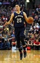Apr 6, 2014; Portland, OR, USA; New Orleans Pelicans guard Austin Rivers (25) brings the ball up the court during the first quarter of the game against the New Orleans Pelicans at Moda Center. Mandatory Credit: Steve Dykes-USA TODAY Sports